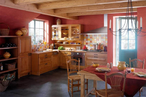 french country kitchen red photo - 2