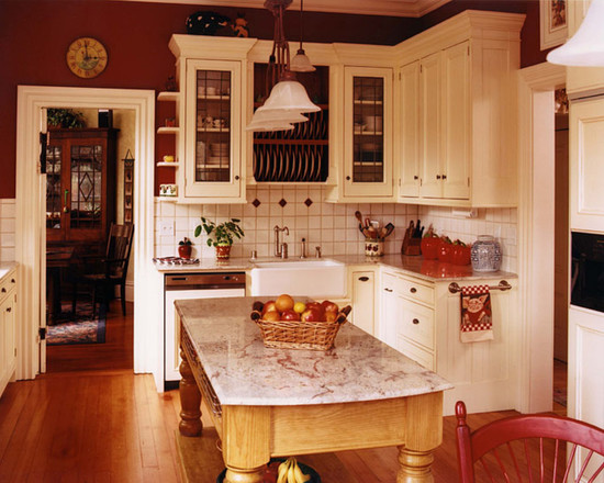 french country kitchen red photo - 6
