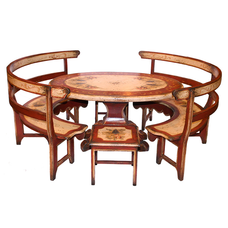 French country kitchen table round roselawnlutheran for Kitchen table with stools