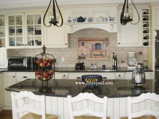 French Country Kitchen With White Cabinets