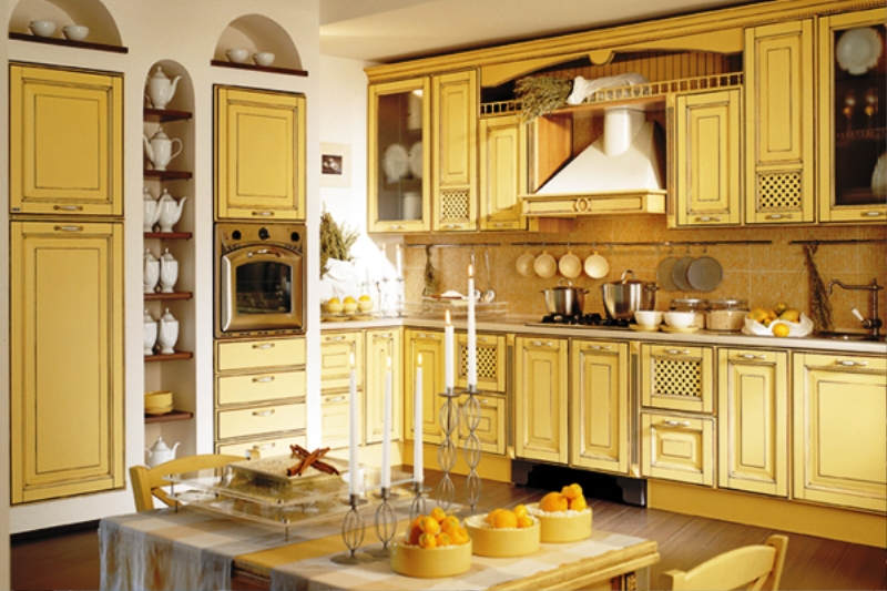 french country kitchen yellow photo - 4