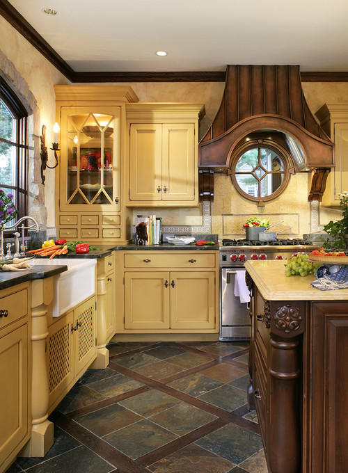 french country kitchen yellow photo - 6