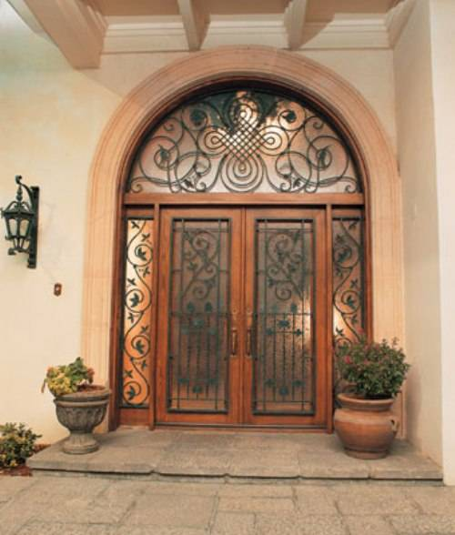 french doors exterior wrought iron photo - 2