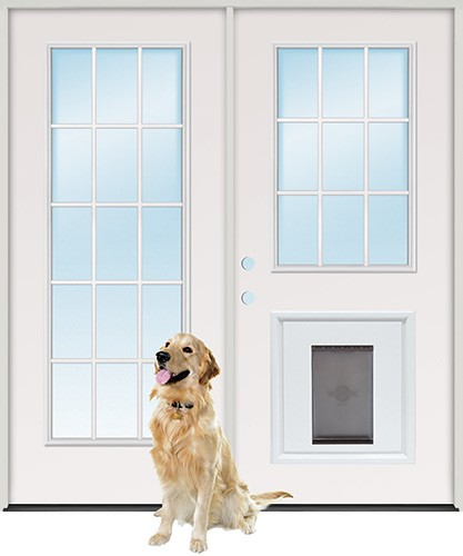 french doors with dog door photo - 2