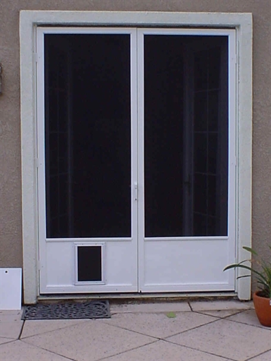 french doors with dog door photo - 3