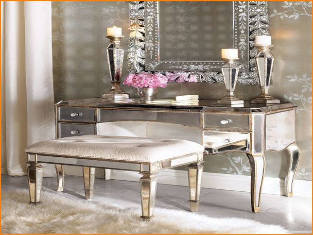 gold mirrored bedroom furniture photo - 4