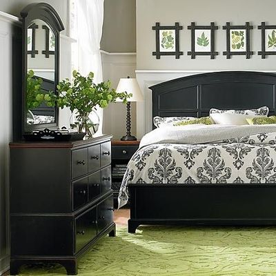 gray bedroom black furniture photo - 2