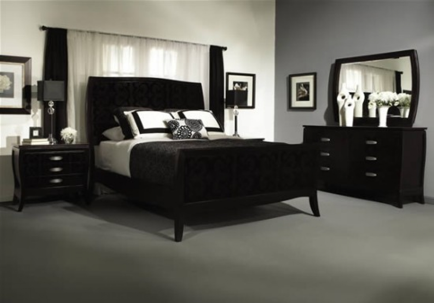 gray bedroom black furniture photo - 3
