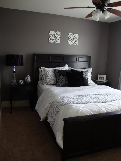 gray bedroom black furniture photo - 4