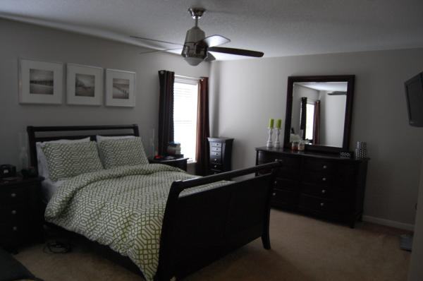 gray bedroom black furniture photo - 5