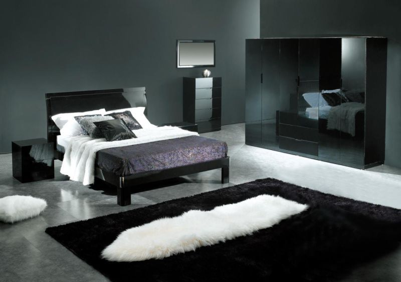gray bedroom black furniture photo - 6