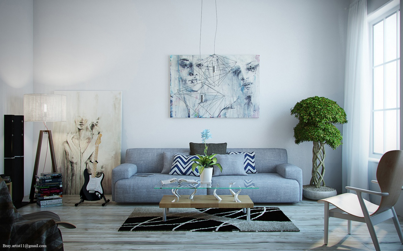 gray room with white furniture photo - 5