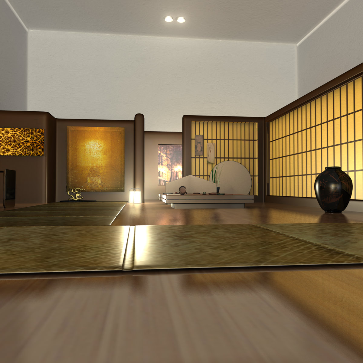 japanese tea house interior photo - 3