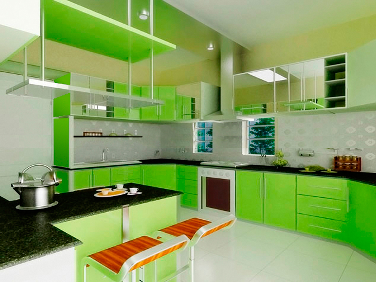 kitchen design ideas green photo - 6