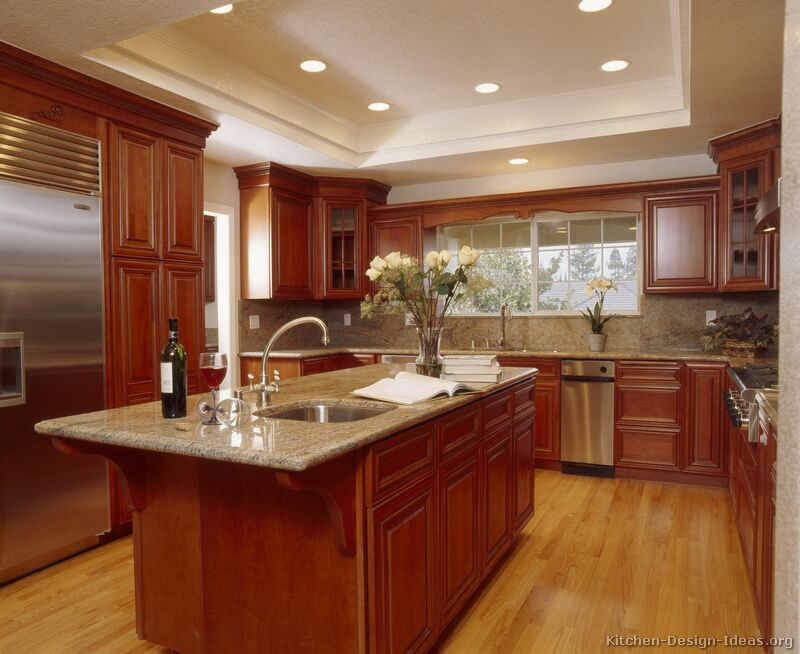 kitchen design ideas with cherry cabinets photo - 5