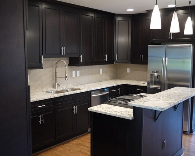 kitchen design ideas with dark cabinets photo - 2
