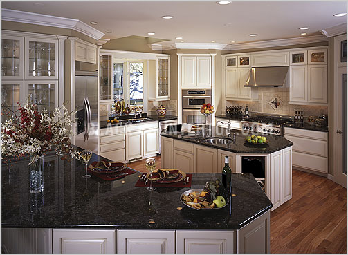 Kitchen ideas white cabinets black countertop Interior