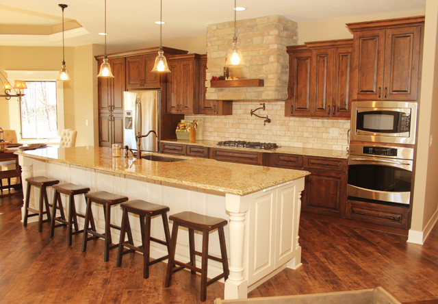 Kitchen Wood Cabinets. Fancy Kitchen Design With Rustic Wood ...