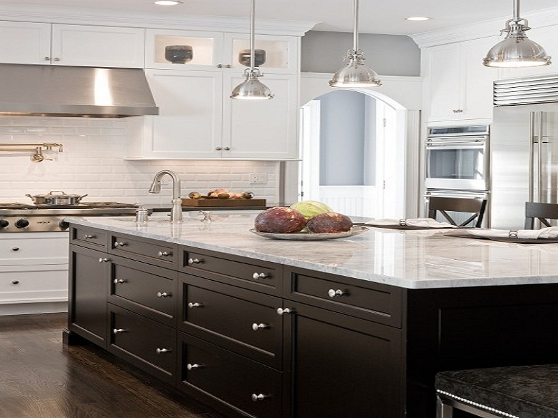 White kitchen cabinets black island - White kitchen with dark island ...