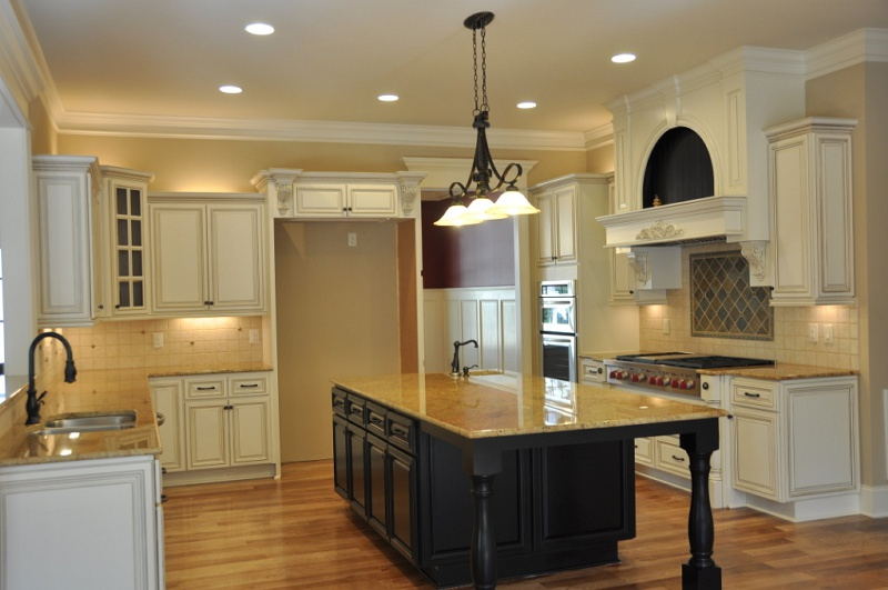 White Kitchen Cabinets With Black Island  White Kitchen - Antique white kitchen cabinets