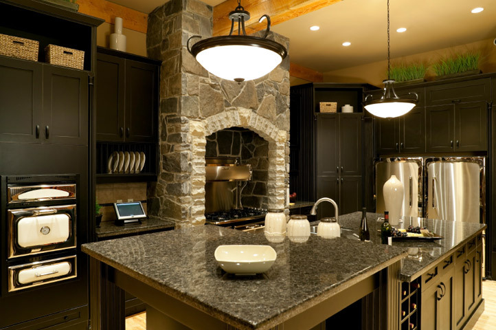 kitchen white cabinets dark countertops photo - 4