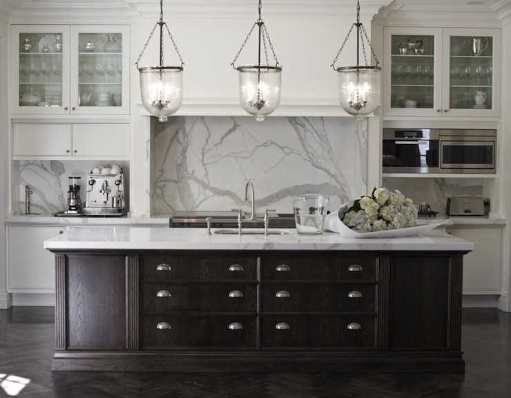 kitchen white cabinets dark island photo - 2