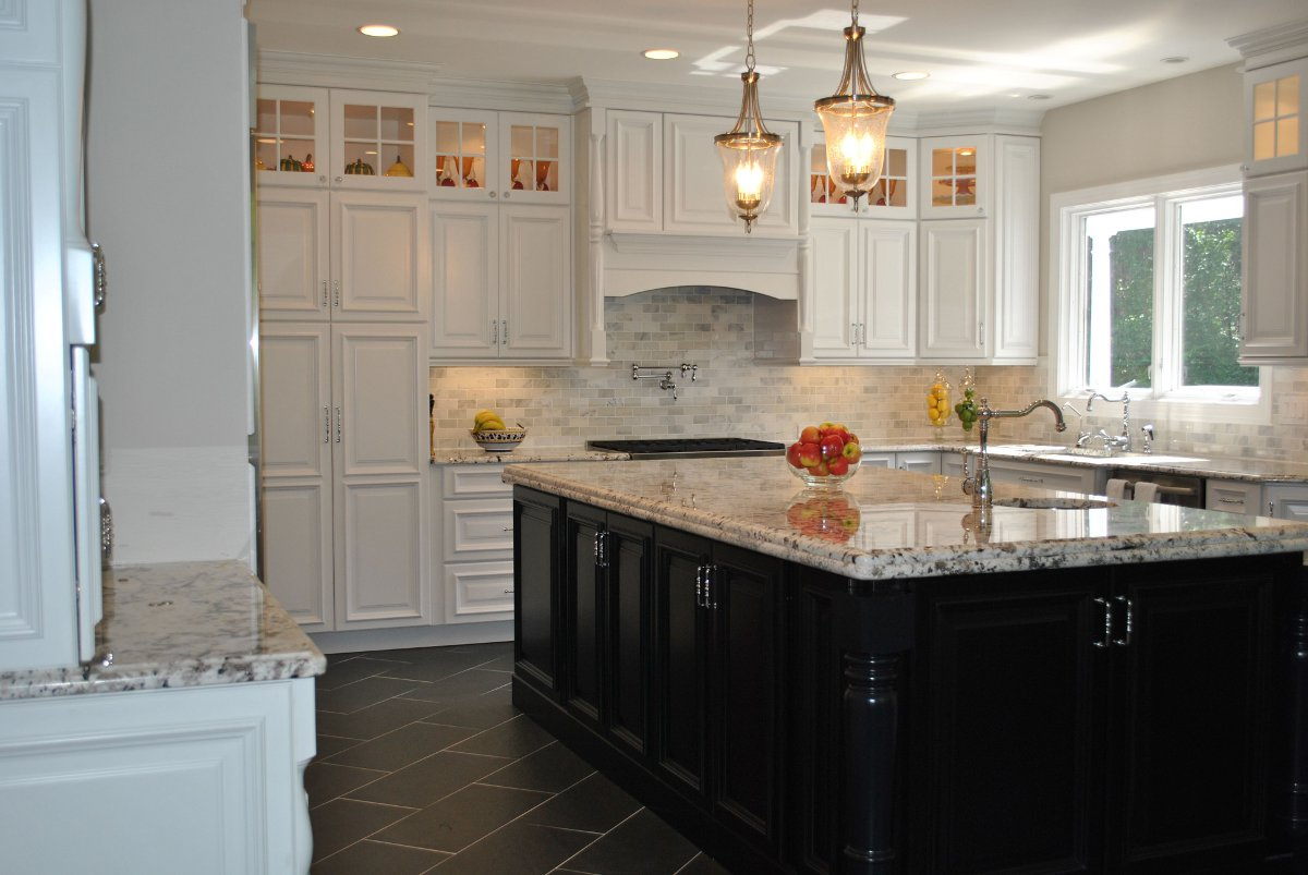 Dark kitchen cabinets with white doors for White or dark kitchen cabinets