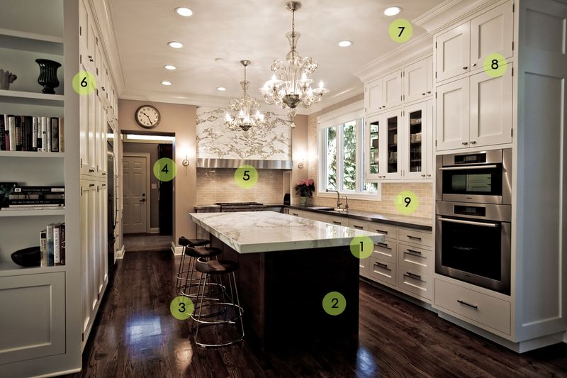 Kitchen White Cabinets Dark Wood Floors Interior Exterior Doors