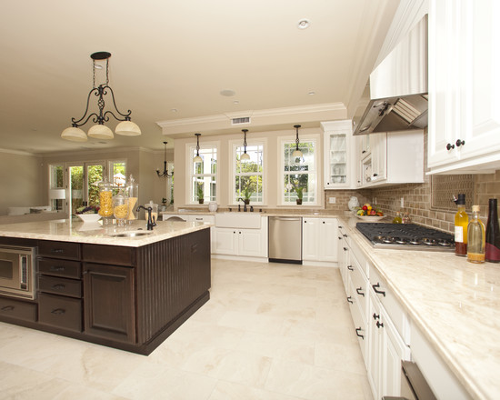 White Kitchen Cabinets With Light Tile Floors Kitchen