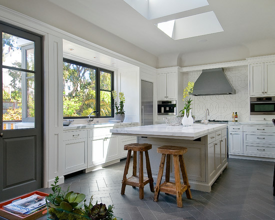 kitchen white cabinets tile floor interior exterior doors