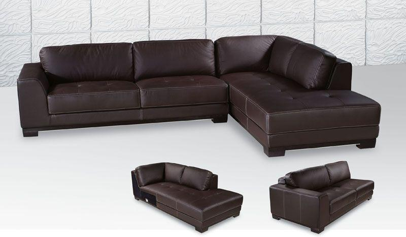 leather couch sectional brown photo - 6