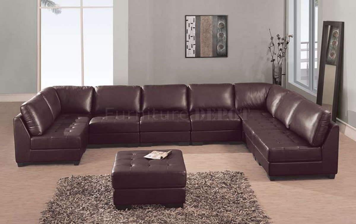 Leather Sectional Sofa Brown