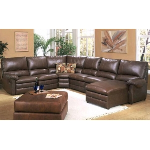 Leather sectional sofa chaise recliner