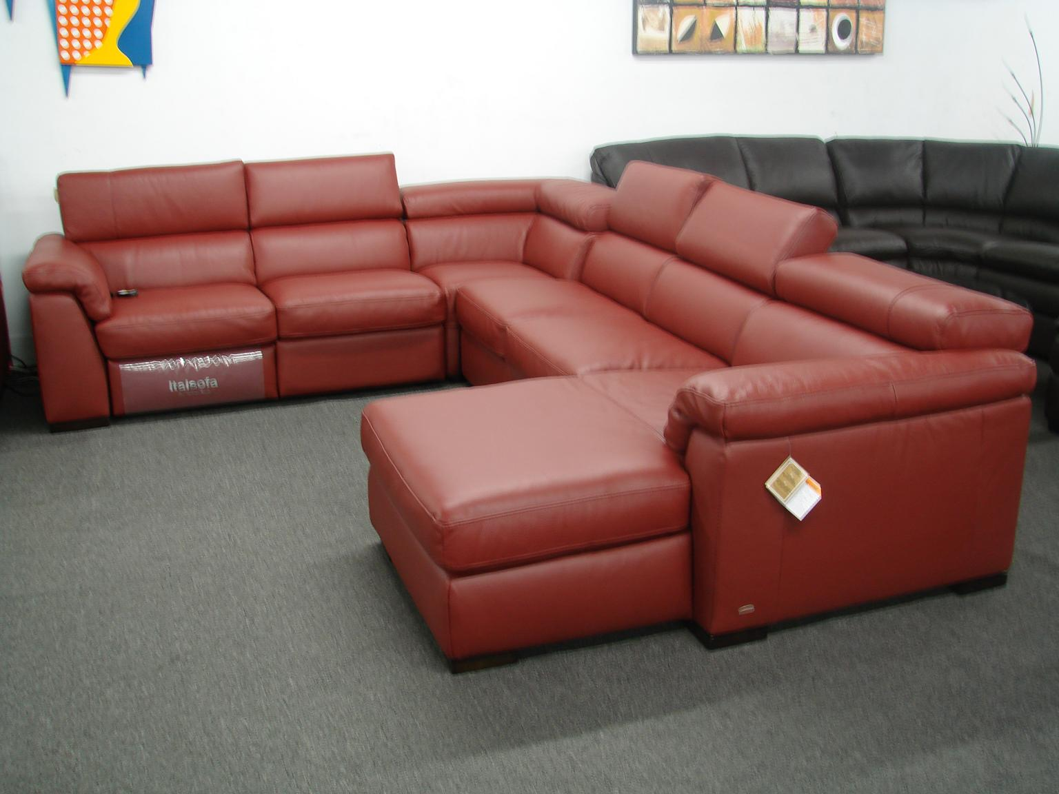 leather sectional sofa chaise recliner photo - 3