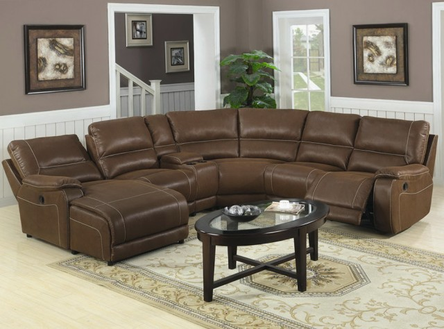 leather sectional sofa chaise recliner photo - 6