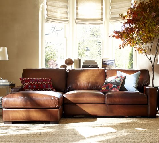 leather sectional sofas pottery barn photo - 5