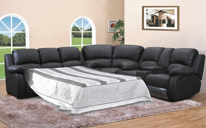 leather sleeper sectional sofa bed photo - 3