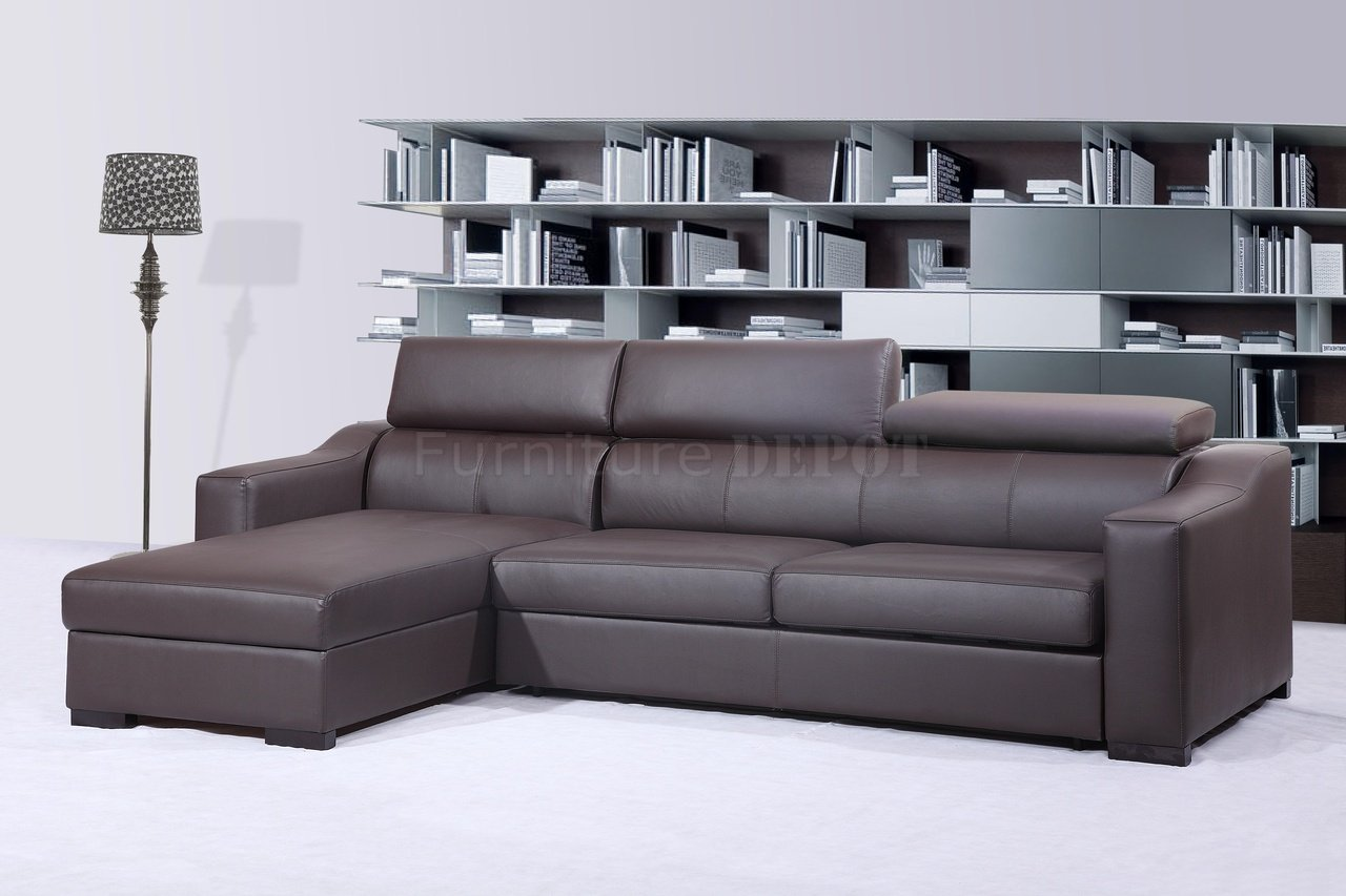 leather sleeper sectional sofa bed photo - 4