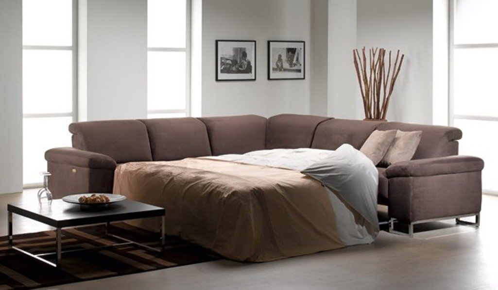 leather sleeper sectional sofa bed photo - 6