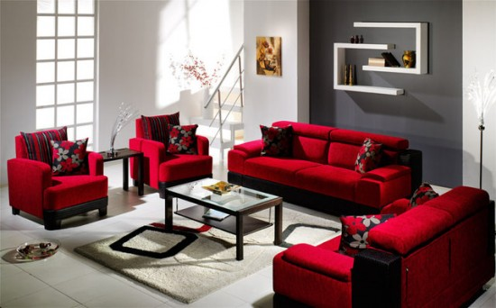 living room design red couch photo - 1