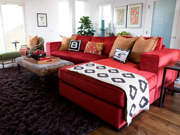 living room design red couch photo - 2