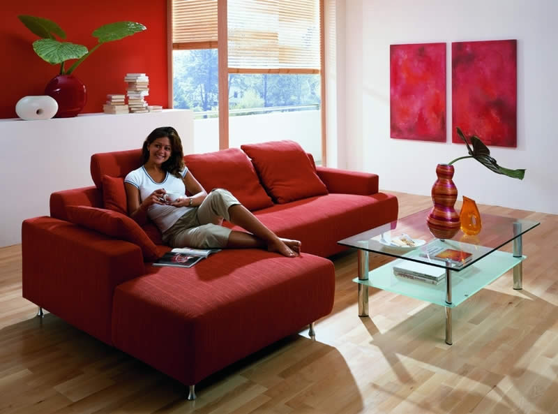 living room design red couch photo - 4