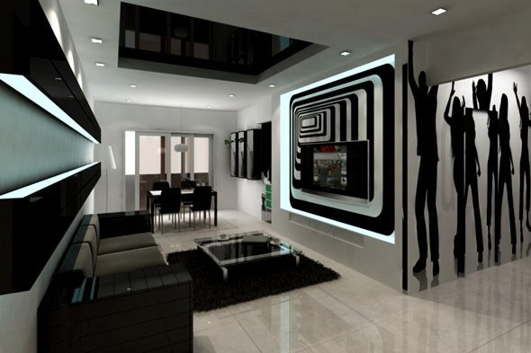 Living room designs black and white