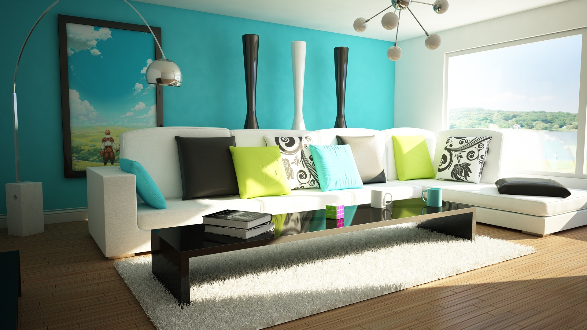living room designs blue photo - 1