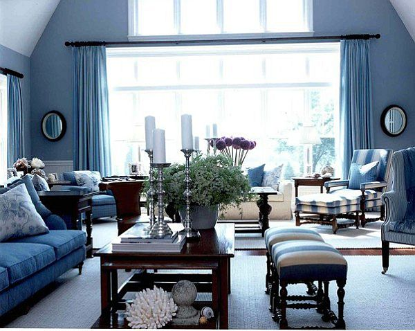 living room designs blue photo - 3