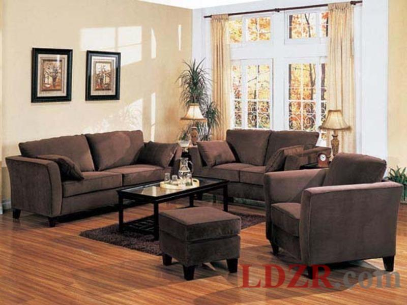 living room designs brown couch photo - 3