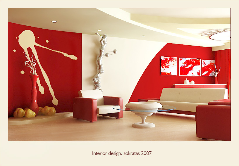 living room designs red photo - 2