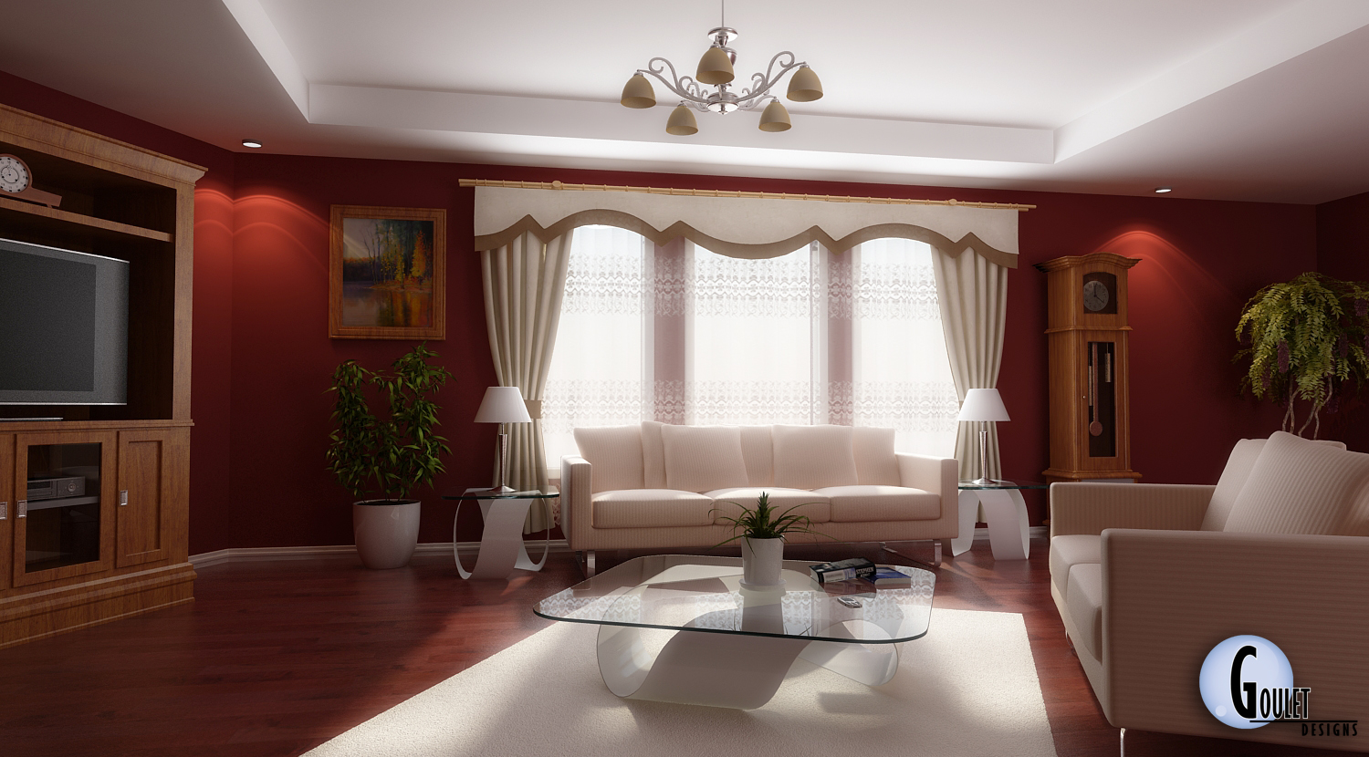 living room designs red photo - 3