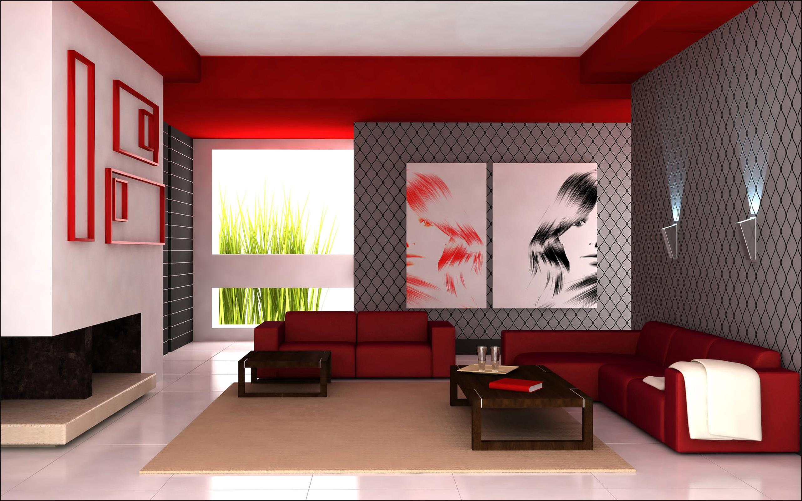 living room designs red photo - 4