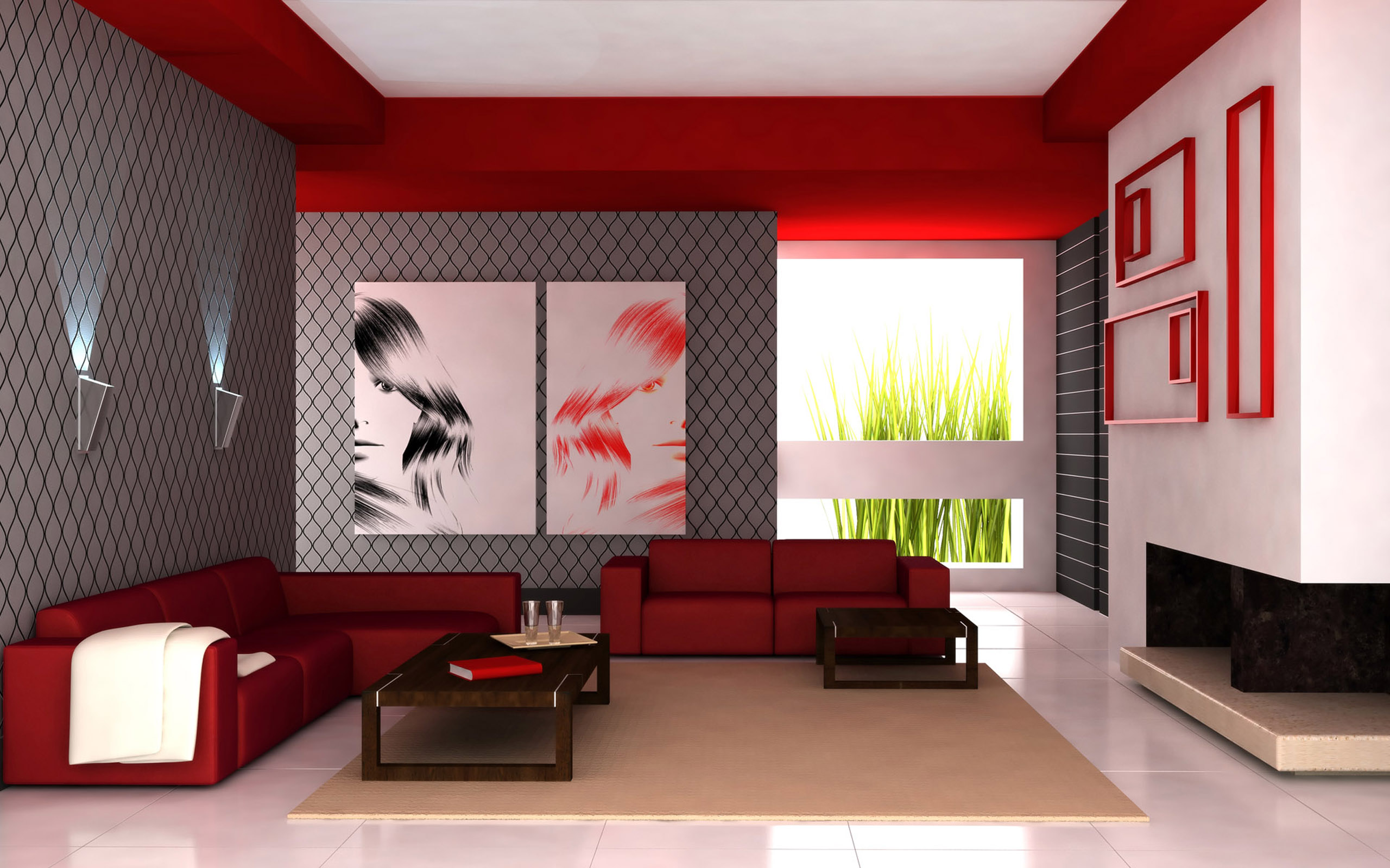 living room designs red photo - 5